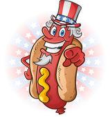 Uncle Sam Hot Dog Cartoon Character — Stock Vector