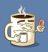 Grumpy Coffee Cartoon Character Eating a Donut — Stock Vector