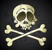 Skull and Crossbones Jolly Roger Cartoon Character — Stock Vector