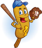 Corn Dog Baseball Cartoon Character — Stock Vector