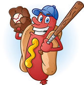 Hot Dog Baseball Cartoon Character — Stock Vector