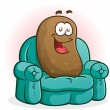 Couch Potato Cartoon Character — Stockvectorbeeld