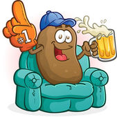 Couch Potato Sports Fan Cartoon Character — Stock Vector