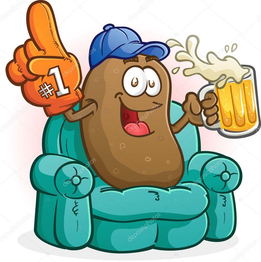 personnage de dessin anim de patate de canap sports fan. Black Bedroom Furniture Sets. Home Design Ideas
