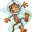 Monkey Astronaut Cartoon Character in a Space Suit — Stock Vector