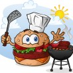 Hamburger Cheeseburger Cartoon Character Grilling with a Chef Hat — Stock Vector #44641199
