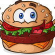 Hamburger Cheeseburger Cartoon — Stock Vector #44641211