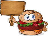 Hamburger Cartoon Wooden Sign — Stock Vector