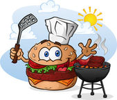 Hamburger Cheeseburger Cartoon Character Grilling with a Chef Hat — Stock Vector
