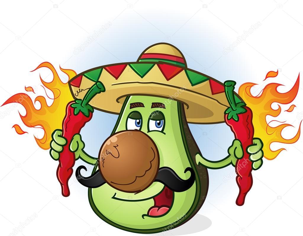 Avocado messicano cartone animato holding peperoncini