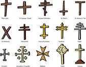 Various Christian Crucifix Designs — Stock Vector
