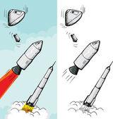 Bemannte raketenstufen — Stockvektor