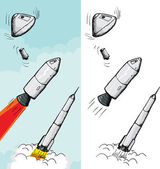 Manned Rocket Stages — Stock Vector
