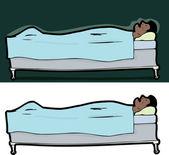 Sleeping Man in Bed — Stock Vector