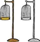 Empty Antique Bird Cage — Stock Vector