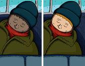 Person Asleep on Bus — Stock Vector