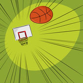 Basketball Into The Net — Stock Vector