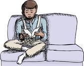Boy Reading a Book — Stock Vector