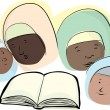 Stock Vector: Muslim Women with Book