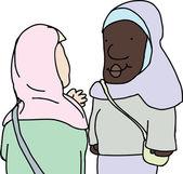 Muslim Ladies Talking — Stock Vector