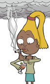 Lady dricka och röka — Stockvektor