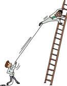 Pulling Man on Ladder — Stock Vector