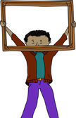 Man Holding Frame — Stock Vector