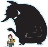Scared Student and Monster — Stock Vector