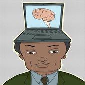 Man With Computer Brain — Stock Vector