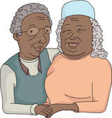 Smiling Elderly Couple Cartoon — Stock Vector