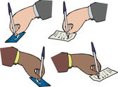 Hands Signing Receipts — Vetorial Stock
