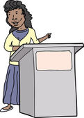 Woman Speaking at Lectern — Stock Vector