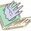 Hand Breaking Through Laptop — Stock Vector