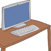 Table with Computer — 图库矢量图片
