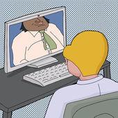 Dos hombres hablando en línea — Vector de stock