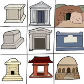 Various Tombs — Stock Vector