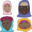 African Muslim Women — Stock Vector