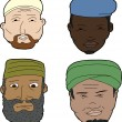 Muslim Men with Beards — Stock Vector