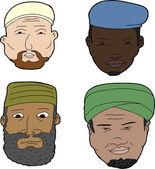 Muslim Men with Beards — Stock Vector