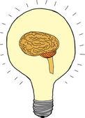 Idea Bulb with Brain — Stock Vector