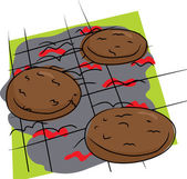 Isolated Burgers on Grill — Stock Vector