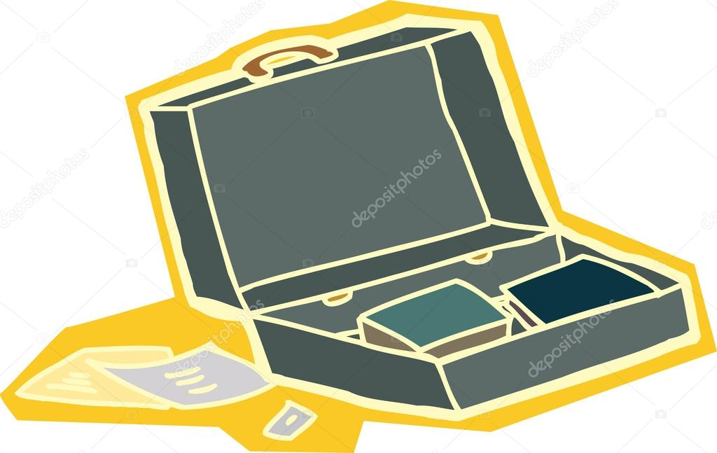 Open Briefcase Vector Abstract Briefcase Cartoon in Yellow Over White Background Vector by