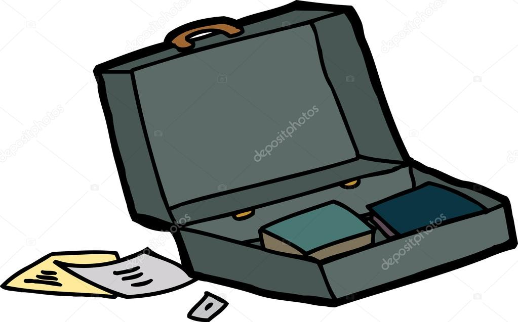 Open Briefcase Vector Open Briefcase With Papers And Books on White Background Vector by