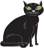 Cute Black Cat — Stock Vector