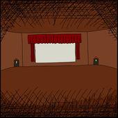 Movie Screen in Room — Stock Vector