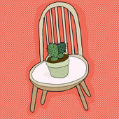 Cactus Plant on Chair — Stock Vector