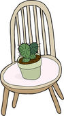 Cactus On Chair — Stock Vector