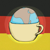 Cup with Globe and German Flag — Stock Vector