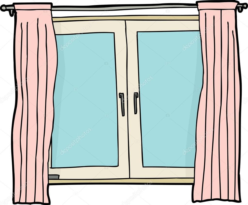 Fen tre avec des rideaux roses image vectorielle for Ouvrir fenetre javascript