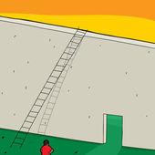 Choosing Doorway or Ladder — Stock Vector